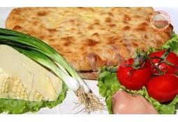 Пирог с сыром, помидорами и куриным филе